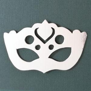 Antifaz 2 decorativo plata brillante Bond papel