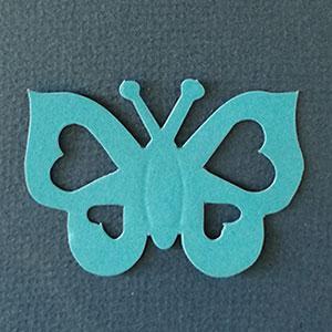 Mariposa Corazón Azul Bond papel