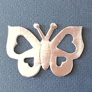Mariposa Corazón Plata Brillante Bond Papel